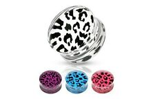 PAIR of LEOPARD Clear Saddle EAR PLUGS Gauges Ring Flesh TUNNEL Piercing Jewelry