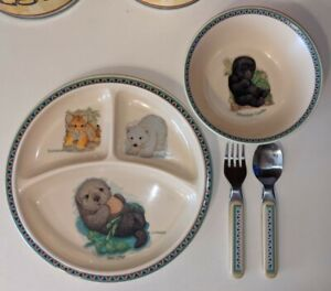 Selandia Fraser Toddler Dish Set. Otter, Gorilla, Polar Bear, Tiger
