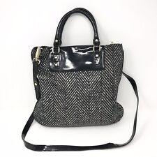 Kate Spade Herringbone Print Crossbody Bag Nylon Black White Patent Leather