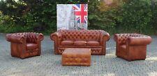 Sofagarnitur 100% Vollleder Chesterfield 3+1+1 Sofa Couch Polster Sitz Garnitur