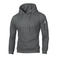 Herrenmode Warm Plaid Design Tasche Hip Hop mit Kapuze Sweatshirt Lässig P6X3