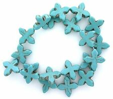 4/5 x 4/5 Inch Cross Magnesite Blue Turquoise Bead Gemtone Gem 15 Inch Strand