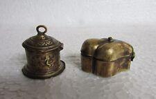 2 Pc Vintage Old Brass Unique Vermilion Box Powder Kumkum Tikka Box Collectible