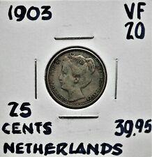 1903 Netherlands 25 cents VF-20