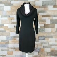 Connected Apparel  Womens Sz SP Cowl Neck Sweater Dress 3/4 Sleeve Black