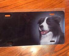 Border Collie Airbrush License Plate - T3347Z Black And White Dog