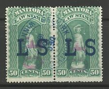 "Manitoba #ML47 1884 50c Law Stamp w/ ""CF"" on ""LS"" Overprint Revenue, HP Used CDS"