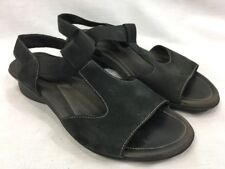 Mephisto Black Suede Leather Sandals Shoes Womens Euro 38 US 7.5 Elastic Slip On