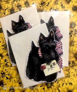Lot Of 3 Blank Black Scottie Dog Greeting Cards & Envelopes Carol's Rose Garden