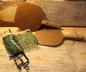 Vintage Wooden Ping-Pong Table Tennis Set Paddles With Net / Brackets +