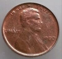 1980 Struck Thru Capped Die CENT PENNY MINT ERROR OBVERSE ICG MS63 RD SUPER RARE
