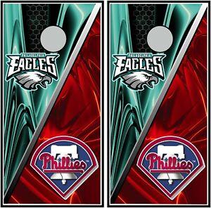 Philadelphia Eagles & Phillies 0655 custom cornhole board vinyl wraps sticker