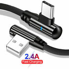 90 Degree Type C LED Cable USB Fast Charging Data Cable For Samsung S10 Huawei