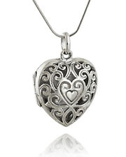 Filigree Heart Locket Necklace - 925 Sterling Silver - Antique Replica Photo SN