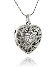 Filigree Heart Locket Necklace - 925 Sterling Silver - Antique Replica Photo NEW