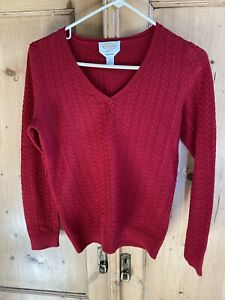Talbots Pima Cotton Dark Red Cable Knit V Neck Sweater Pullover New Size Small