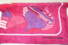 HermesPARIS Thalassa Purple Red 100% Cotton Large Beach Towel Authentic Germany