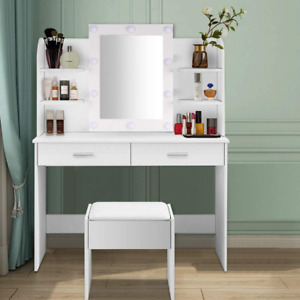 Large Dressing Table Vanity Makeup Desk with LED Light Bulb Mirror Drawer Stool