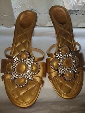 Chanel Gold Sandals heels shoes EU 38.5 UK5.5