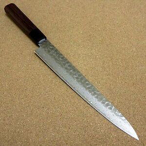 "Japanese Kitchen Sujihiki Slicing Knife 240mm 9"" Damascus 45 Layers From JAPAN"