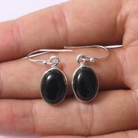 Black Onyx Gemstone Dangle Earring 925 Solid Sterling Silver Handmade Jewelry