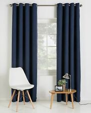 "Save 45% High Quality Blackout Lined Navy Blue Eyelet Curtains 66x72"" 168x183cm"