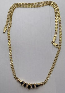 Vintage 14k Gold Sapphire & Diamond Pendant Chain Necklace 3.5 dwt