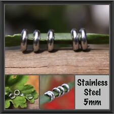 10 Stainless Steel Rings Dreadlock Beads 5mm (3/16 Inch) Hole Dread Beads