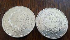 * Belles Pièces * Lot de 2 Pièces de 50 Francs Hercule de 1975 et 1976 en ARGENT