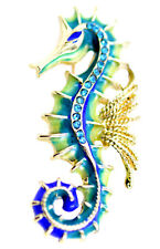 Gold tone enamel seahorse brooch / pin with crystal