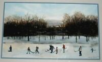 ORIGINAL WATERCOLOR PAINTING CHILDREN ICE SKATING ARTIST SIGNED JANE VOLIN
