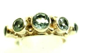 Ladies 5 Stone Blue Topaz Band Ring Sterling Silver size 7