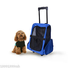 PawHut Pet Luggage Box Carrier Cat Dog Backpack Rolling Wheel w/ Removable Stand