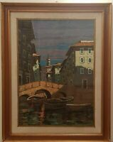 ANTICO DIPINTO OLIO su tela GINO TASSINARI (1920 -2001) Livorno Quadro Paesaggio