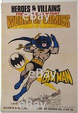 DC Comics HEROES & VILLAINS New Zealand Gum Card POSTER - BATMAN w BATSIGNAL