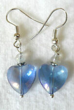Hook Heart Glass Mixed Metals Costume Earrings