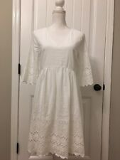 New Madewell Eyelet Lattice Dress White Sz 6 H6963