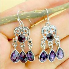 1Pair Vintage 925 Silver Women Amethyst Gemstones Dangle Earrings Jewelry Gift