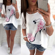 Summer Women Blouse Floral Short Sleeve Ladies Casual Loose Casual T-shirt Tops