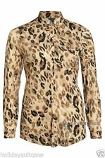 Animal Print Leopard Collared Tops & Shirts for Women