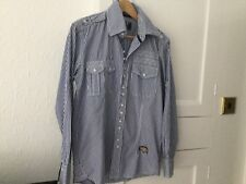 Two Stoned Muscle Fit Shirt Size M In Blue & White In Excellent Condition.