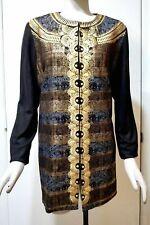NWT $179 Chico's Embellishment Metallic-Print Jacket, Black/Gold, Size 1 (M 8/10