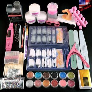 New Acrylic Nails Kit Set Powder Liquid Brush Gliter Manicure Pedicure Tool &Kit