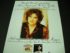 ALISON KRAUSS and The Cox Family CONGRATS on Grammy Award 1995 PROMO POSTER AD