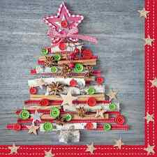 Christmas 20 Paper Lunch Napkins ORGANIC TREE Red Green Winter Buttons Stars