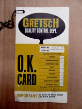1957 - 1968 Gretsch 6122 Country Gentlemen Quality OK Card Control Hang Tag