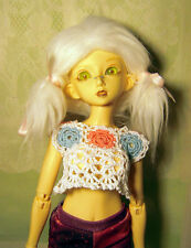 White with flowers crochet crop top for MSD, unoa, minifee, 1/4 bjd DOLL