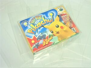 1 N64 Hey You Pikachu Video Game Clear Case Cases Sleeve Box Protector CIB