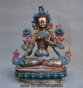 "8.8"" Old Tibet Buddhism Temple Silver Painting 7 eyes White Tara Goddess Statue"