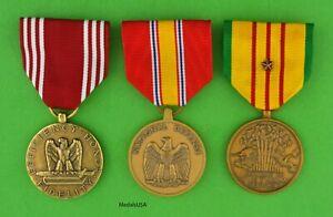 VIETNAM WAR 3 ARMY SERVICE MEDALS -Full Size- USA Made - Good Conduct, NDSM, VSM